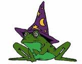 Coloriage Magicien transformé en grenouille colorié par Vanessa