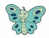 Coloriage Papillon fantaisie colorié par Vanessa