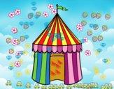 Coloriage Tente de cirque colorié par Petit