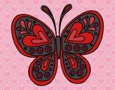 Coloriage Mandala papillon colorié par Vickee