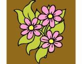 Coloriage Petites fleurs colorié par mosaique1