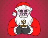 Père Noël avec une tasse de café
