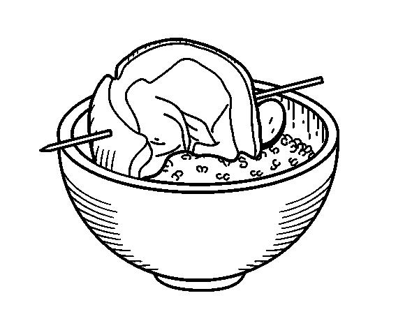 Coloriage De Brochette Boeuf Avec Du Riz Pour Colorier