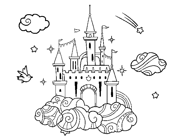 Coloriage Image Chateau.Coloriage De Chateau Dans Les Nuages Pour Colorier