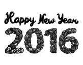 <span class='hidden-xs'>Coloriage de </span>Happy New Year 2016 à colorier