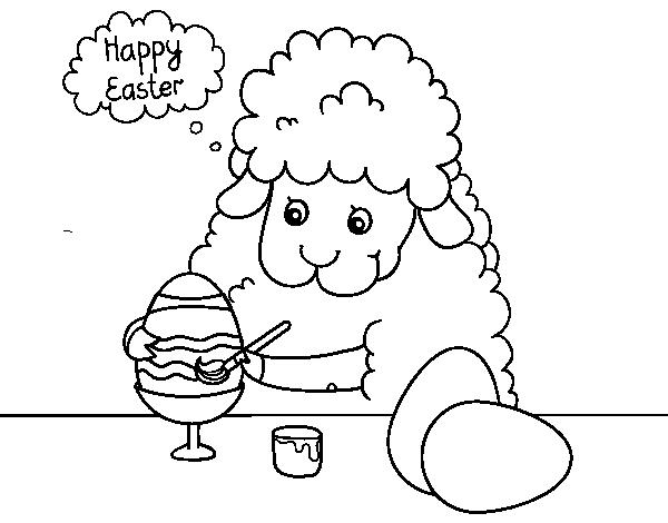 Coloriage De Petits Moutons à Colorier Des Oeufs De Pâques