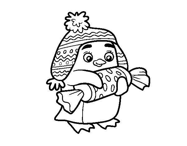 Coloriage de pingouin avec des bonbon pour colorier - Pingouin en coloriage ...