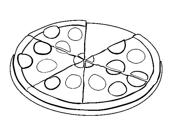 Coloriage de Pizza pepperoni pour Colorier