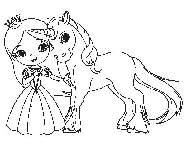 Coloriage Princesse Avec Licorne.Coloriage De Princesse Et Licorne Pour Colorier Coloritou Com
