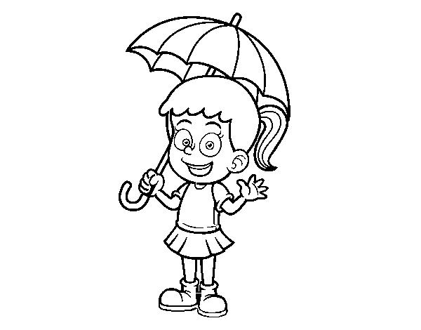 Coloriage Petite Fille Parapluie.Coloriage De Une Fille Avec Un Parapluie Pour Colorier